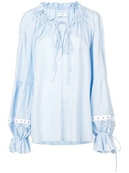 Marques Almeida Marques'almeida Oversized Gathered Blouse Blue