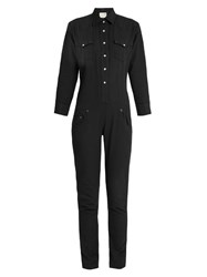 R 13 Cowboy Point Collar Cotton Jumpsuit Black
