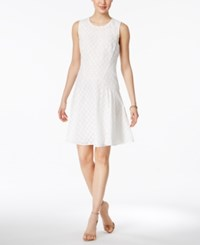 Tommy Hilfiger Eyelet Lace Fit And Flare Dress White