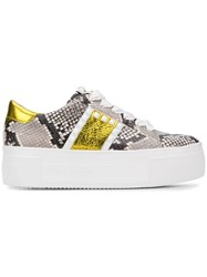 Kennel Schmenger And Snakeskin Print Platform Sneakers Grey