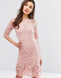 Paper Dolls Lace Midi Dress With Peplum Hem And 3 4 Sleeve Rose Blush Pink