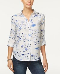 Charter Club Petite Printed Shirt Only At Macy's Bright White Combo