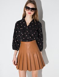 Pixie Market Brown Leather Pleated Mini Skirt