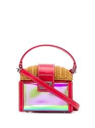 Rodo Straw Tote Bag Red