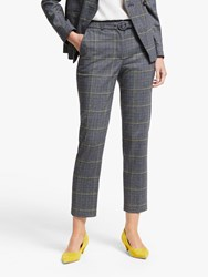 Boden Malden Tweed Belted Trousers Navy Yellow