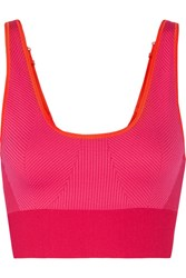 Adidas By Stella Mccartney The Seamless Color Block Stretch Sports Bra Pink