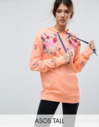 Asos Tall Hoodie With Floral Embroidery Pink