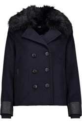 Line Drew Faux Fur And Leather Trimmed Felt Coat Navy