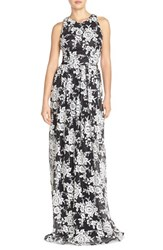 Women's David Meister Embroidered Tulle Fit And Flare Gown Black White