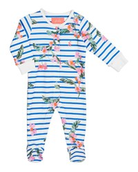 Joules Razzmatazz Striped And Floral Footie Pajamas Size 0 12 Months Blue