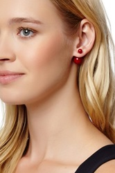 Double Sided Simulated Pearl Earrings Red