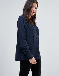 Vila Shirt With Contrast Buttons Total Eclipse Black