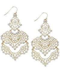 Bar Iii Gold Tone Crystal Lace Chandelier Earrings