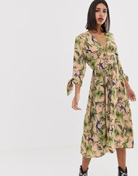 Neon Rose Maxi Tea Dress With Button Front In Jungle Print Pink
