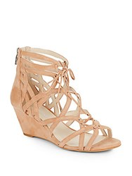 Kenneth Cole Dylan Suede Cage Wedge Sandals Buff