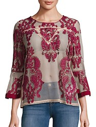 Minkpink Sweetest Sound Embroidered Sheer Blouse Wine Blush