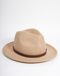 Asos Fedora Hat In Stone Felt With Faux Leather Band Stone Beige