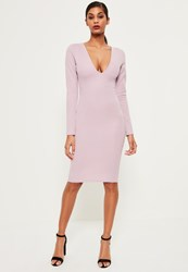 Missguided Pink Ponte Long Sleeve Midi Dress Mauve