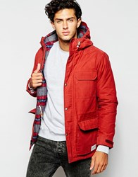 Quiksilver Parka With Check Lined Hood Rosewood