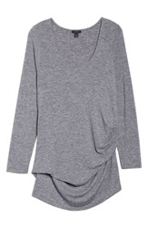 Halogen Plus Size Ruched Top Grey Heather