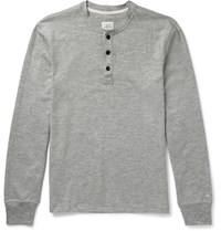 Rag And Bone Slim Fit Melange Cotton Blend Jersey Henley T Shirt Gray