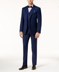 Tallia Men's Slim Fit Blue Neat Vested Suit