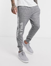 Abercrombie And Fitch Icon Logo Tape Cuffed Joggers In Grey