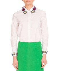 Mary Katrantzou Flower Embroidered Stretch Poplin Blouse White