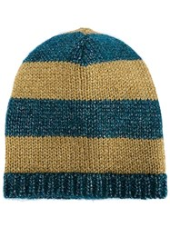 Gucci Striped Knit Beanie Blue