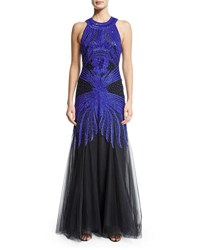 Monique Lhuillier Sleeveless Embroidered Racerback Gown Cobalt Black Blue