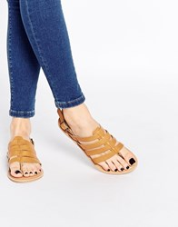 Park Lane Strappy Leather Flat Sandals Tan