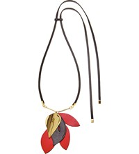 Marni Leather And Metal Leaf Pendant Necklace Red