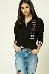 Forever 21 Nyc Graphic Fleece Jacket Black Blue