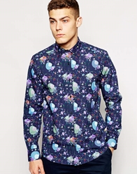 Guide London Guide Shirt With Bubble Print In Slim Fit Navy