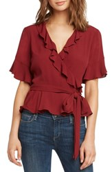 Willow And Clay Ruffle Wrap Top Scarlet