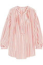 Sonia Rykiel Striped Silk Crepe De Chine Blouse Red