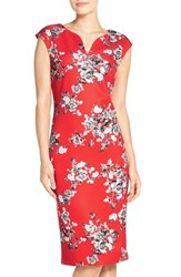 Eci Women's Floral Print Scuba Sheath Dress Red