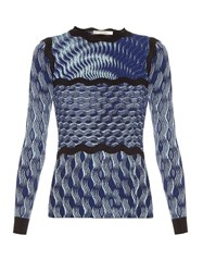 Mary Katrantzou Rosalba Long Sleeved Knitted Top Blue Multi
