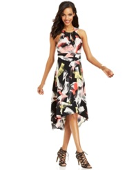 Sangria Printed High Low Halter Dress Coral