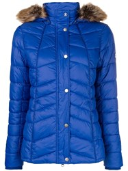 Barbour Fur Hood Trim Jacket Blue