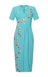 Stella Jean Luminosa Short Sleeve V Neck Dress Turquoise