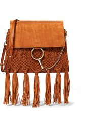 Chloe Faye Medium Braided Leather And Suede Shoulder Bag Tan