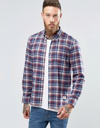 Penfield Redwater Check Button Shirt Brushed Cotton Navy