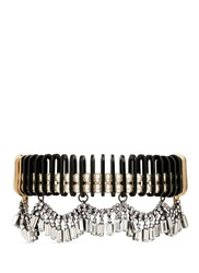 Venna Chain Link Resin Pearl Crystal Fringe Necklace White Metallic