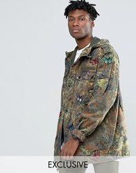 Reclaimed Vintage Camo Parka Jacket With Butterfly Patches Camo Green