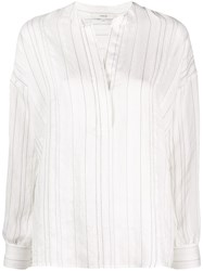 Vince Striped Print V Neck Blouse 60