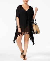 Becca Etc Plus Size Wanderer Fringe Cover Up Dress Women's Swimsuit Black