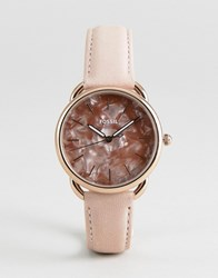 Fossil Es4419 Tailor Leather Watch In Glossy Pink 35Mm