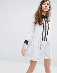 E.F.L.A Shirt Dress With Ruffles Gray