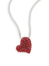 Swarovski Classic Pave Crystal Heart Pendant Silver Red